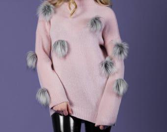 Pink puff sweater