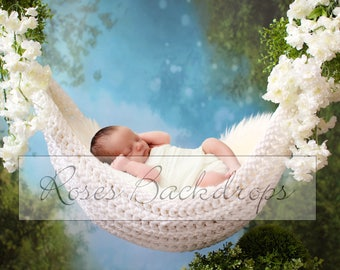 Digital background, scenery, newborn, hammock, boy, girl, 3 files!