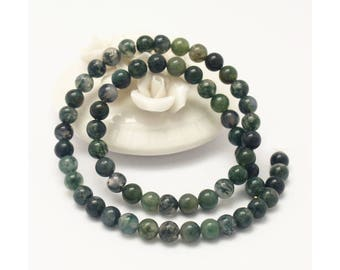 1 Strand (15 inches) Green Ocean Moss Agate 6mm Round Beads CB988