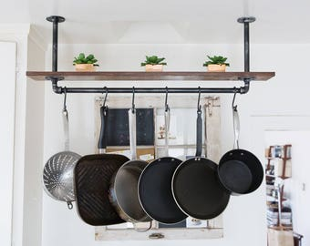 Rustic Industrial Hanging Pot Rack