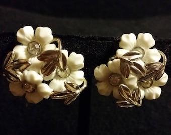 Coro White Flower Clip On Earrings