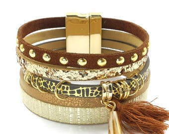 Bohemian bracelet, bangle, beige, brown, gold