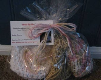 Set of 3 Soap Saver Pouches - Exfoliating Handmade Crocheted
