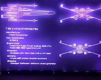 Star Wars X Wing Minimal Design Wall Art Print Engraving Night Light Gift For Him & Her