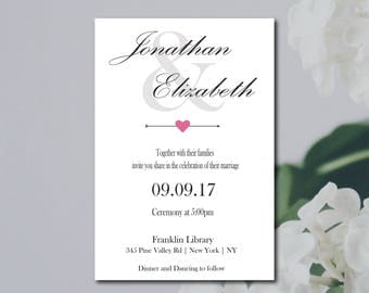 Simple Wedding Invitation Template, Pink White Wedding Invite Printable, DIY Instant Download OR Printing Services