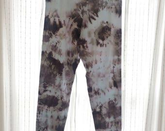 Yoga Adult XL Gray Cloudy Tie-Dye Leggings