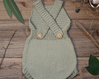 Knit Baby Romper, Handmade, Baby Knits, Baby Clothes, Handmade Clothes, %100 Cotton, Natural Cotton Romper, Cotton Clothes
