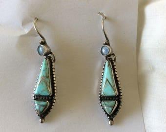 Navajo Sharon Sandoval Turquoise and Opal Earrings