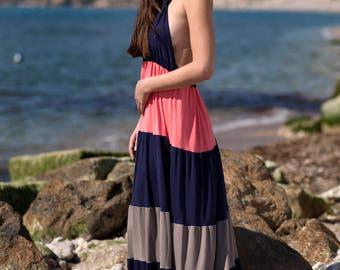 Long dress low cut back summer, designed in Barcelona.