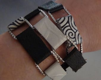 Leather and Chain-link Wrap Bracelet