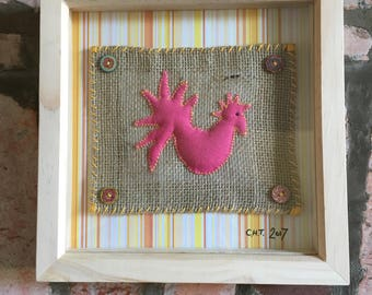 Recycled fabric hand stitched chicken art - framed