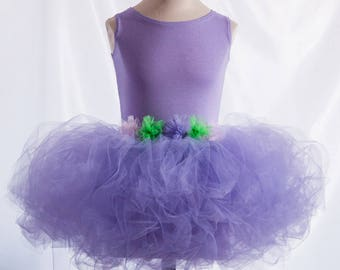 Lovely gift for a girl's birthday. Beautiful dress-tutu violet handmade. Girl dress tutu with flowers. Personalized tutu