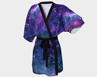 Galaxy, Stars Tarantula Nebula, Kimono Robe, Dressing Gown, Bridesmaid Robe, Coverup, Spa Robe, Swimsuit Coverup, Robe, Knit, Chiffon Kimono