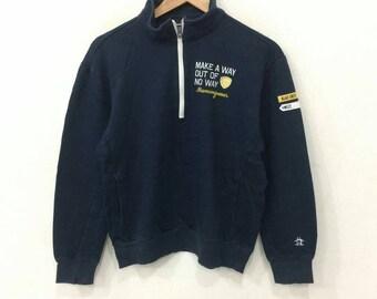 Rare!! Vintage 90's MUSINGWEAR Sweatshirt Dark Blue Color Large Size