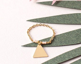 Golden end 24 carat gold triangle ring