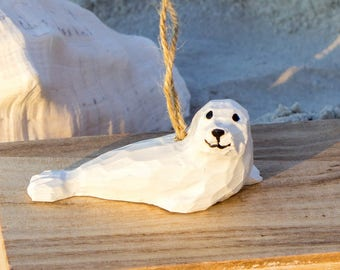 White Seal Ornament, Baby Seal Ornament, Harp Seal Pup Ornament, Seal Christmas Ornament, Arctic Animal, Wooden Ornament, Carved Wood Seal