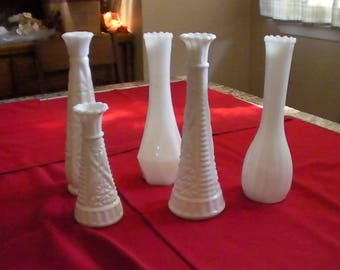 Vintage Milk Glass Bud Vase Sets of 5 or 6,  Textured Milk Glass Bud Vases, Wedding, Baptisims, Clear Glass Bud Vases