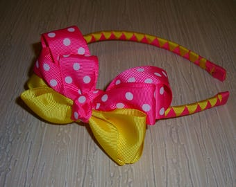 Girl's headband Yellow-Pink - grossgrain