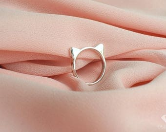 Cat ring sterling silver 92.5%