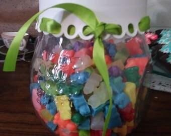 Jar of colorful minny gummy bears