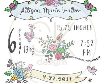 CUTE FLORAL Stats Template-Baby Stats-Pillow Template-New Baby-Sketch-Birds-Baby-Template-SVG-Birth Announcement-Nursery Decor