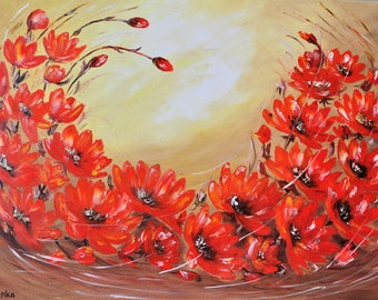 Waltz of the Flowers. Original oil painting on canvas, Oil painting, red flower, impasto art on canvas by Alekseenko 30x20 inches