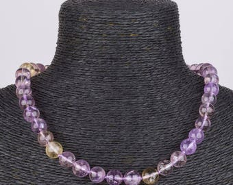 10 mm Ametrine Beaded Necklace Hand Strung and Knotted by designer