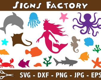 Under the Sea Mermaid Svg Files, Under the Sea Clipart, Sea Shell Svg, Silhouette Software Use, Svg Instant Download Files, EPS File, DXF