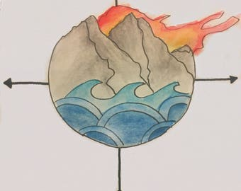 Elements Watercolor   Earth, Wind, Fire Compass