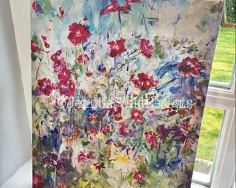 """Floral Limited Edition Acrylic Canvas Print (20). Flowers Wall Art Decor. 16"""" x 20"""". For Home or Office."""