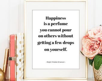 Happiness Is A Perfume - Digital Print Download, Wall Art, Typography print, Printable Quote, Art Print