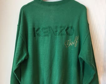 SALE!! KENZO Sweatshirt Embroidery Big Logo Spellout Green Color