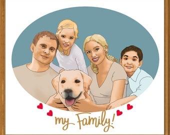 Custom Family Portrait Illustration, Digital Print, Personalised Gift, Gift for Him, Gift for Her, Gift Idea.