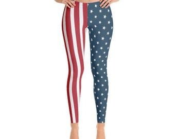 Stars & Stripes - American Flag Leggings - July 4th - Memorial Day - Fancee Pants Co