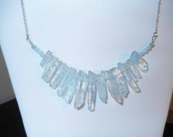 raw aqua quartz, light blue crystal, crystal necklace