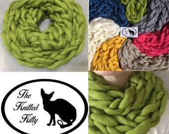 Chunky Hand Knitted Infinite Scarf