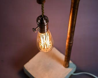 Concrete Beton copper Lamp with touch dimmer