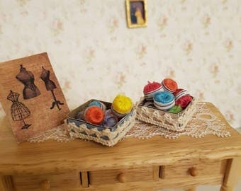 Dollhouse Miniature,Dollhouse,12th scale,sewing room miniatures,dollhouse habedashery,half scale miniatures,wool balls,Miniature wool