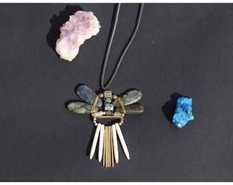 Labradorite crystal gemstone necklace, Dragonfly labradorite necklace