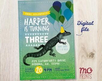 Alligator Birthday Invitation - crocodile theme party - 5x7 - printable digital file