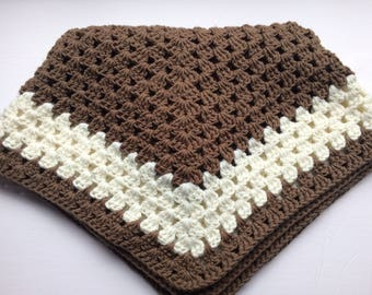 In Brown and white wool baby blanket