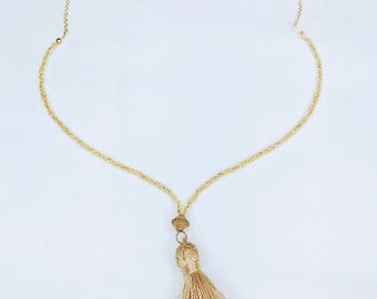 Stephanie gold tassel, gold beads and chain cute trendy necklace