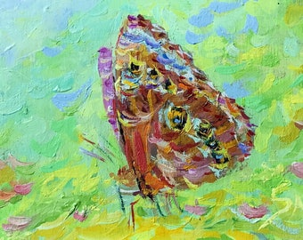 MINI oil painting Original hand painted wall home decor peacock butterfly artwork green gift for granny modern fine art living room decor