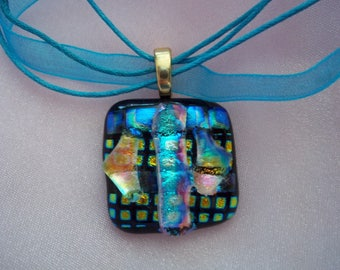 Fused glass pendant dichroic blue turquoise  checkered necklace