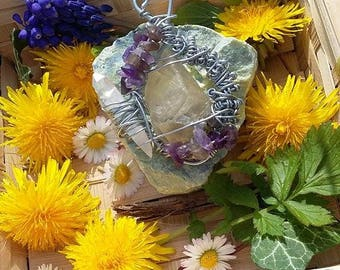 Calcite, Amethyst pendant and rock crystal