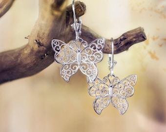 Butterfly Filigree Leverback Earrings