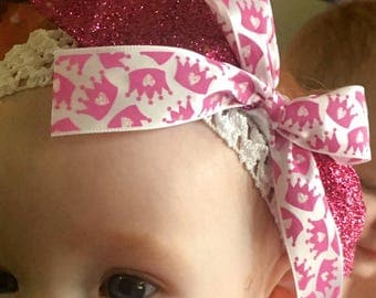 Pink Princess Crown Baby Headband Bow