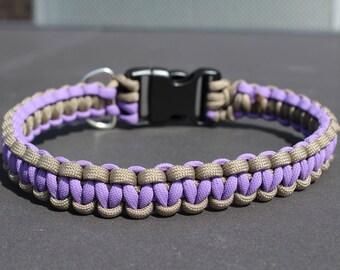 Handmade paracord collar / brown, lilac