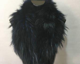 Genuine Real Dark Blue Fox Fur Collar