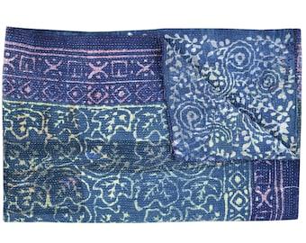 Indigo Kantha Quilt Blue Color Kantha Throw Reversible Kantha Quilt reversible kantha quilt recycled kantha quilt